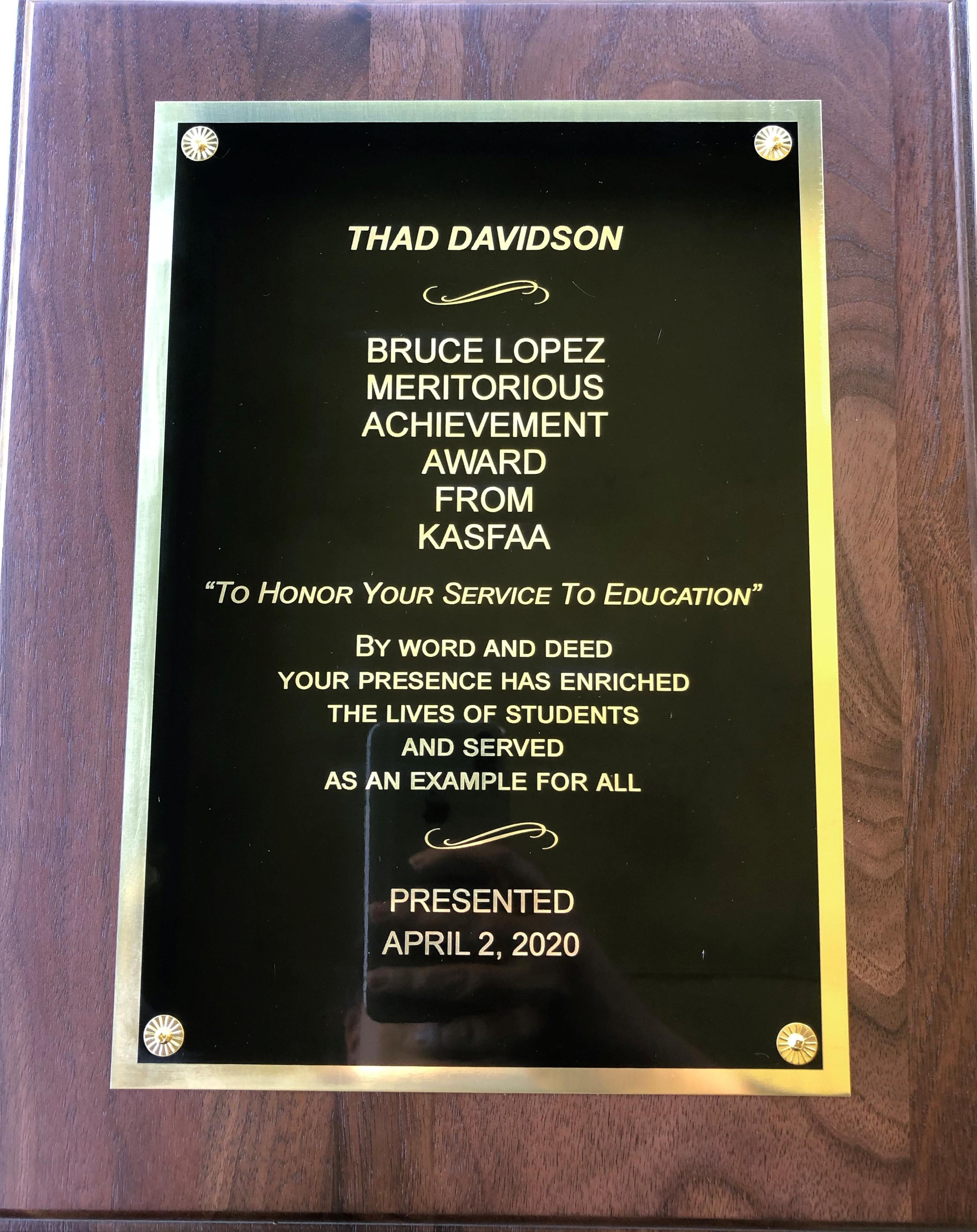 Bruce lopez Meritorious Achievement Award 2020 - Thad
