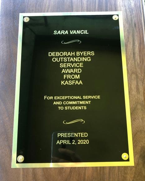Deborah Byers Outstanding Service Award - Sara